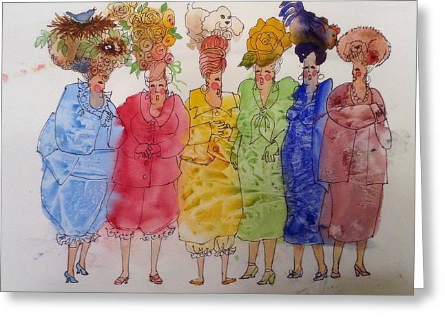 The Crazy Hat Society Greeting Card by Marilyn Jacobson
