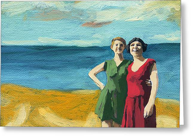 Friends On The Beach Greeting Card by Linda Apple