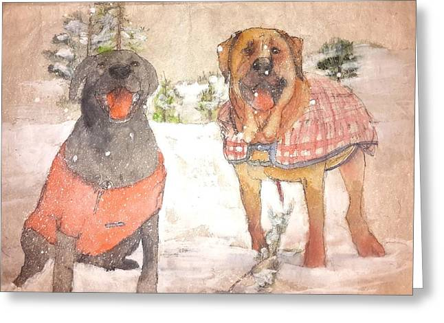 Friends Together Weather Winter Greeting Card by Debbi Saccomanno Chan