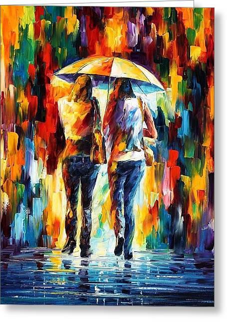 Friends Under The Rain Greeting Card by Leonid Afremov