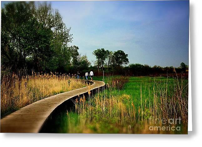 Friends Walking The Wetlands Trail Greeting Card