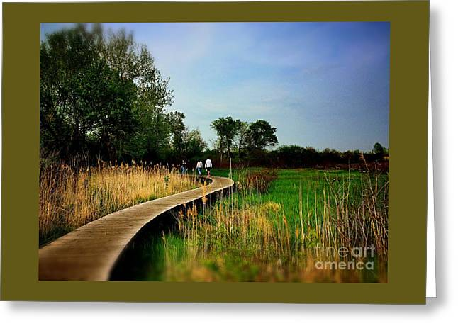Friends Walking The Wetlands Trail Greeting Card