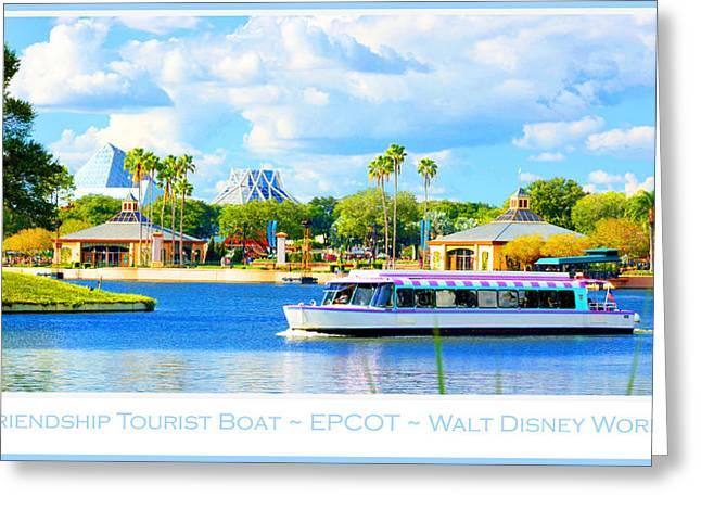 Friendship Boat On The Lagoon Epcot Walt Disney World Greeting Card