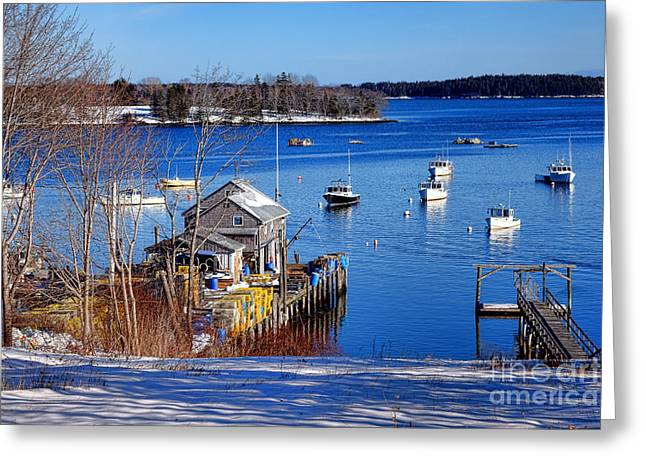 Friendship Harbor In Winter Greeting Card by Olivier Le Queinec
