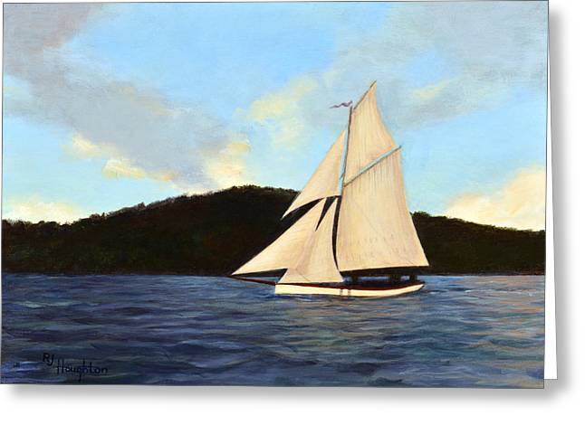 Friendship Sloop Greeting Card by RJ Houghton