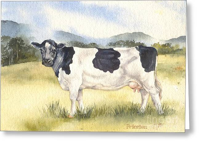 Friesian Cow Greeting Card by Sandra Phryce-Jones