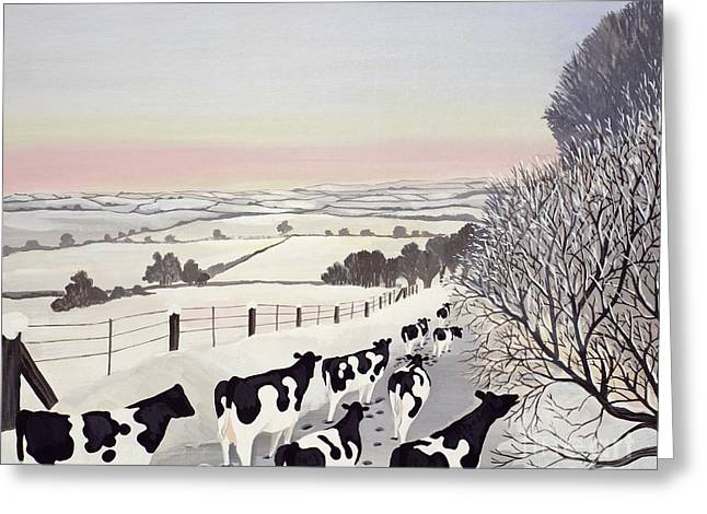 Friesians In Winter Greeting Card by Maggie Rowe