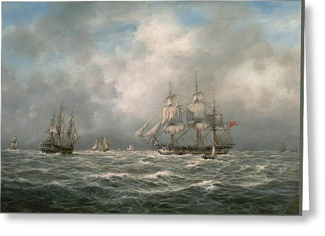 Frigate Awaiting A Pilot Greeting Card by Richard Willis