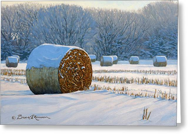 Bale Greeting Cards - Frigid Morning Bales Greeting Card by Bruce Morrison