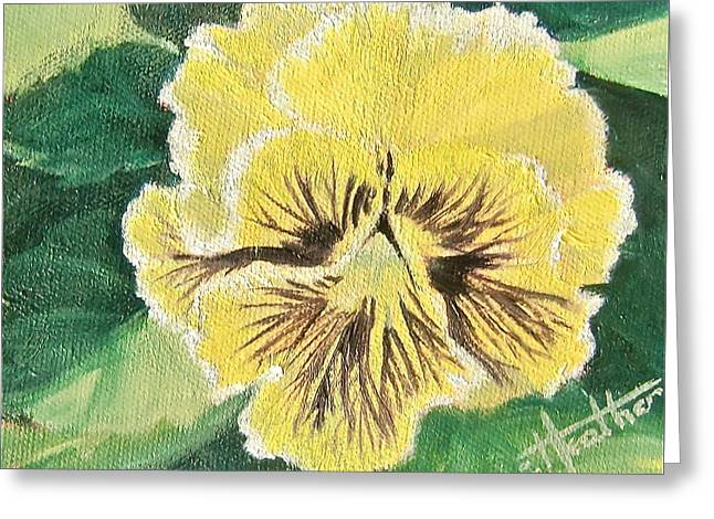 Frilly Yellow Pansy Greeting Card