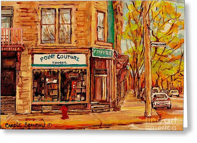 Friperie Pointe Couture Stores And Streets Of Verdun And Psc Canadian Paintings Carole Spandau Art Greeting Card by Carole Spandau