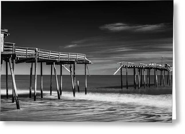 Greeting Card featuring the photograph Frisco Fishing Pier In Black And White Panorama by Ranjay Mitra