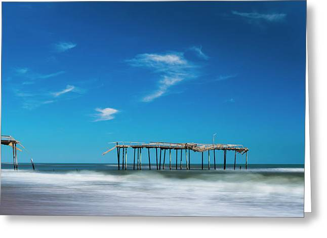 Greeting Card featuring the photograph Frisco Fishing Pier In North Carolina Panorama by Ranjay Mitra