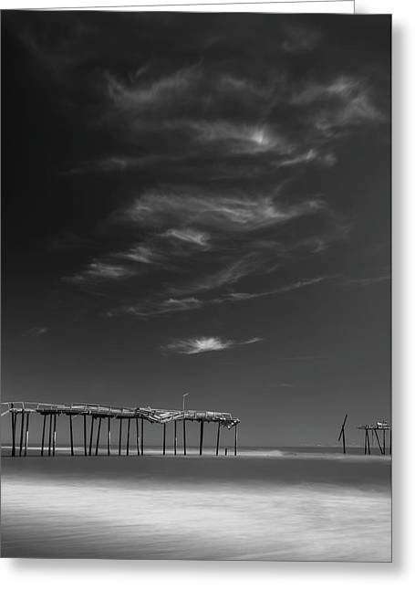 Greeting Card featuring the photograph Frisco Pier In North Carolina And Clouds In Black And White by Ranjay Mitra