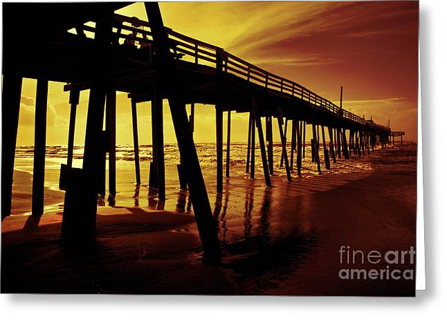Frisco Pier On Obx At Sunrise Greeting Card by Dan Carmichael