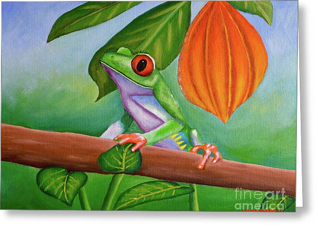 Frog And Cocoa Pod Greeting Card