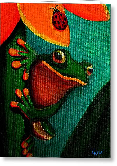 Flower Artwork Greeting Cards - Frog and ladybug Greeting Card by Nick Gustafson