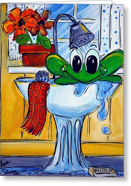 Frog Bath Greeting Card