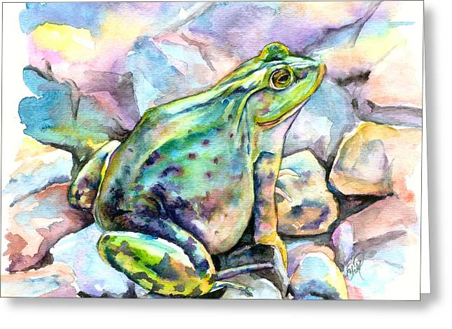 Frog Greeting Card by Christy Freeman Stark