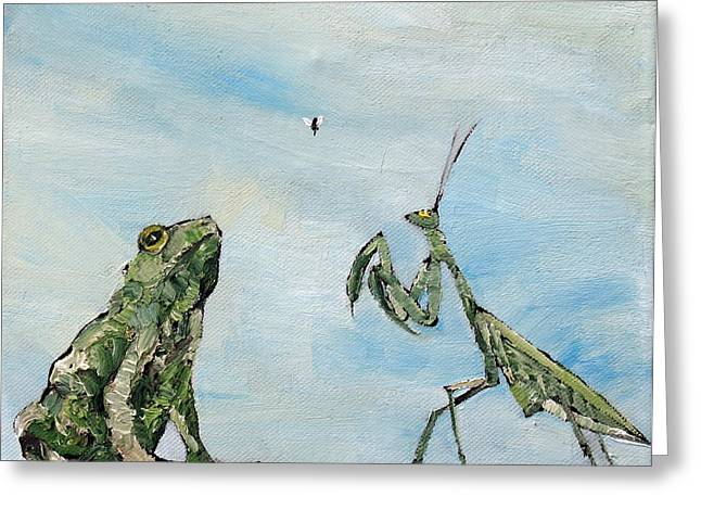 Frog Fly And Mantis Greeting Card by Fabrizio Cassetta