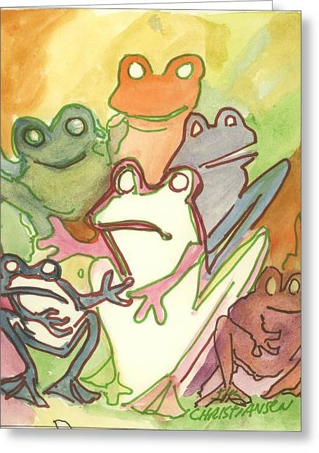 Frog Group Portrait Greeting Card by James Christiansen