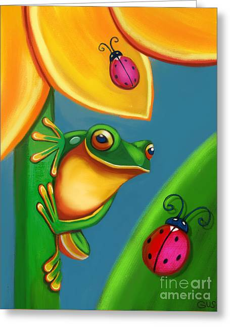 Frog Ladybugs And Flower Greeting Card