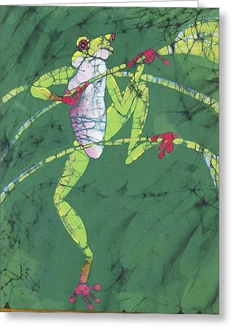 Tree Frog Tapestries - Textiles Greeting Cards - Frog on Stem  Greeting Card by Kay Shaffer