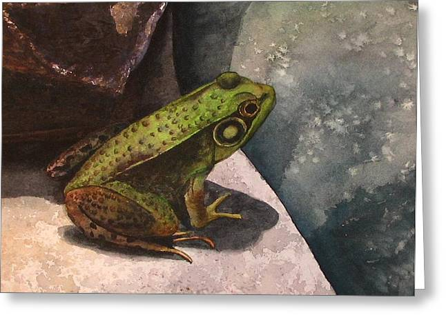 Frog Greeting Card by Sharon Farber