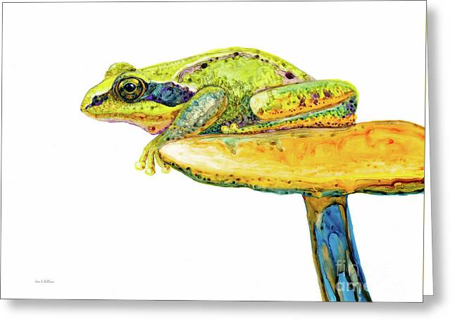Frog Sitting On A Toad-stool Greeting Card