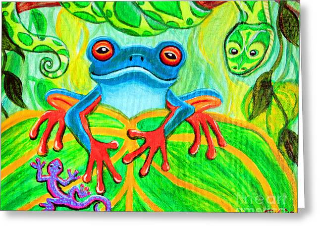 Frog Snake And Gecko In The Rainforest Greeting Card