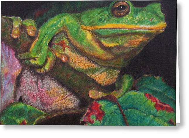 Greeting Card featuring the painting Froggie by Karen Ilari