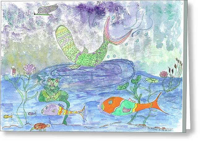 Froggy Delight And Fly Fishing Greeting Card