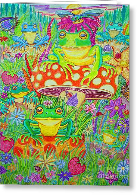 Frogs And Mushrooms Greeting Card by Nick Gustafson