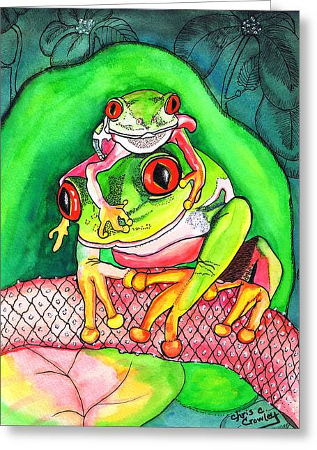 Frogs Greeting Card by Chris Crowley