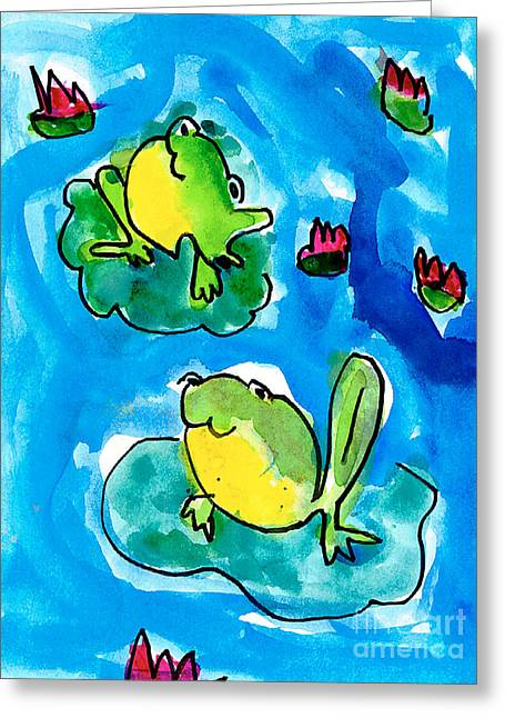 Lilly Pad Greeting Cards - Frogs Greeting Card by Elyse Bobczynski Age Five