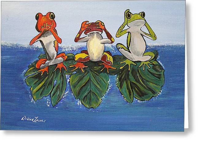 Frogs Without Sense Greeting Card by Debbie Levene