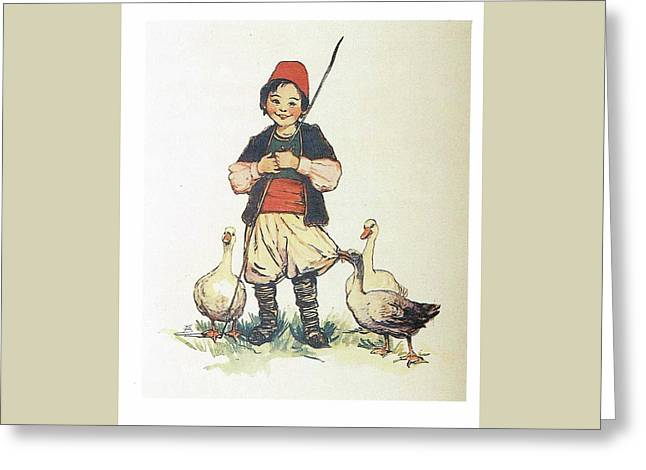 Frolic For Fun Boy And Geese Greeting Card by Reynold Jay