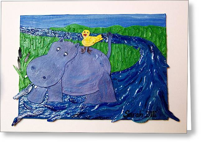 Frolic With Hippo And Bird Greeting Card by Sarah Swift