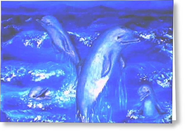 Frolicking Dolphins Greeting Card by Tanna Lee M Wells