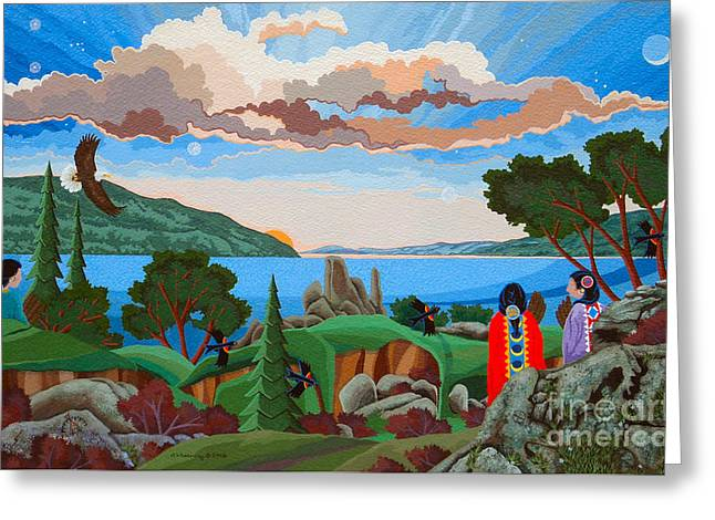 Greeting Card featuring the painting From A High Place, Troubles Remain Small by Chholing Taha