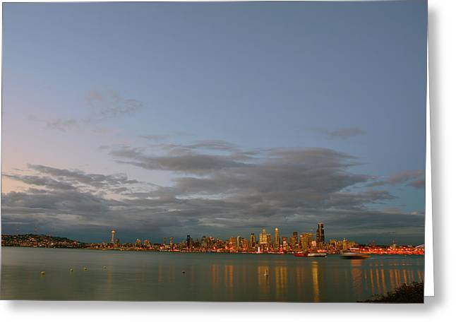 From Alki - Cloudy Night Greeting Card