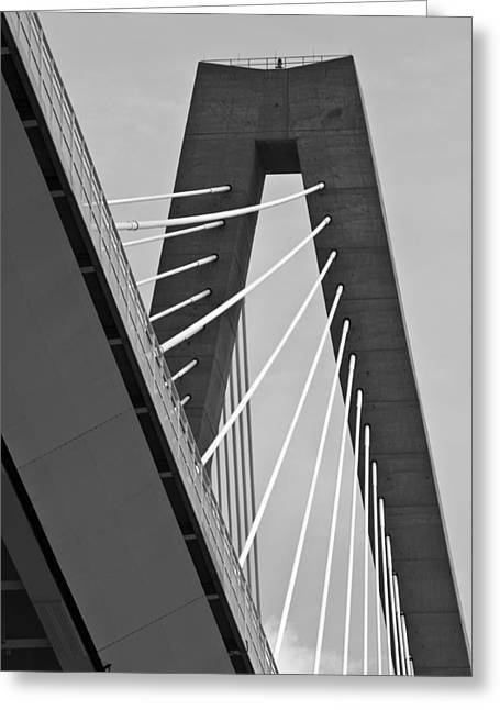 From Below The Arthur Ravenel Jr. Bridge Greeting Card by Dustin K Ryan
