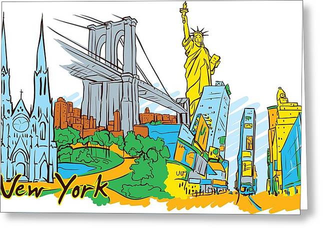 From Old To New York Greeting Card by Stanley Mathis