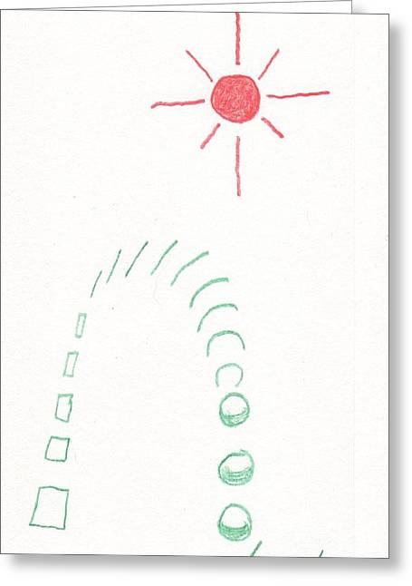 Greeting Card featuring the drawing From Square To Sphere by Rod Ismay