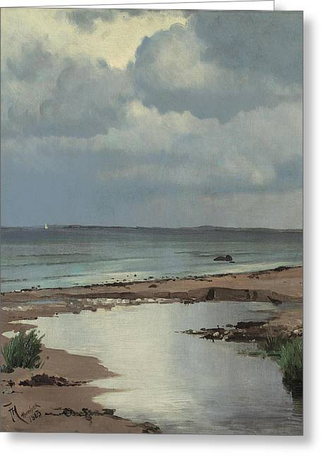 From The Beach At Hornbaek Greeting Card by Frants Henningsen