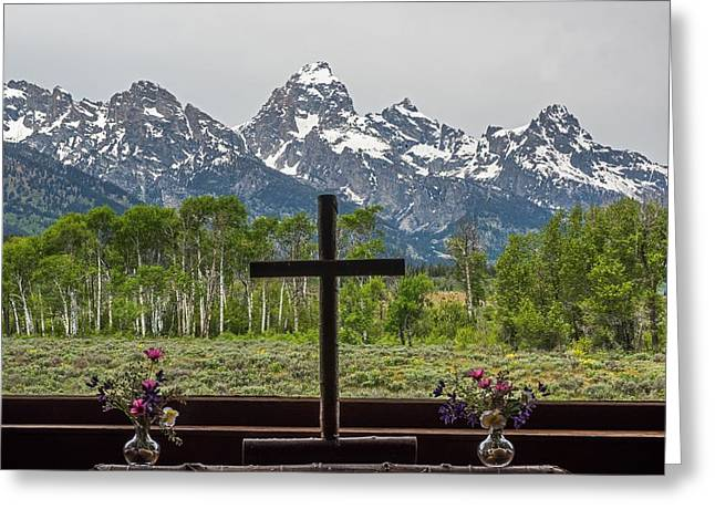 From The Chapel Of The Transfiguration In The The Grand Tetons Greeting Card