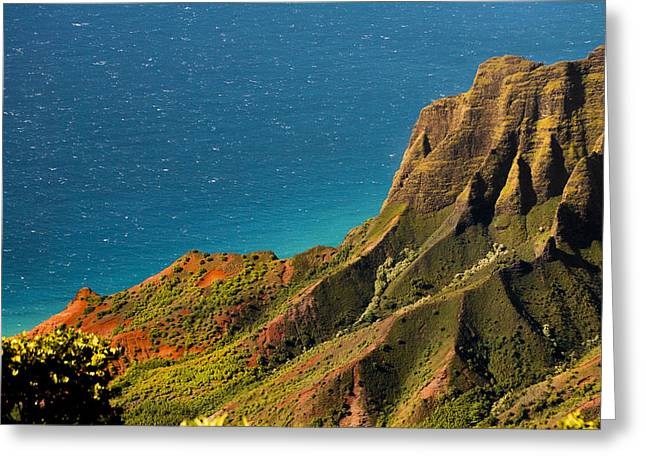 Greeting Card featuring the photograph From The Hills Of Kauai by Debbie Karnes