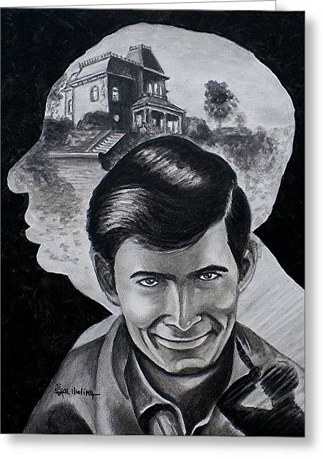 Greeting Card featuring the painting From The Mind Of Hitchcock by Al  Molina
