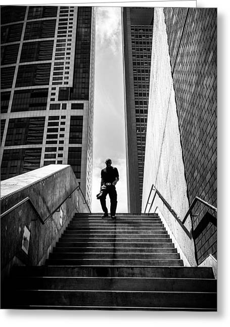 From The Sky - Chicago, United States - Black And White Street Photography Greeting Card