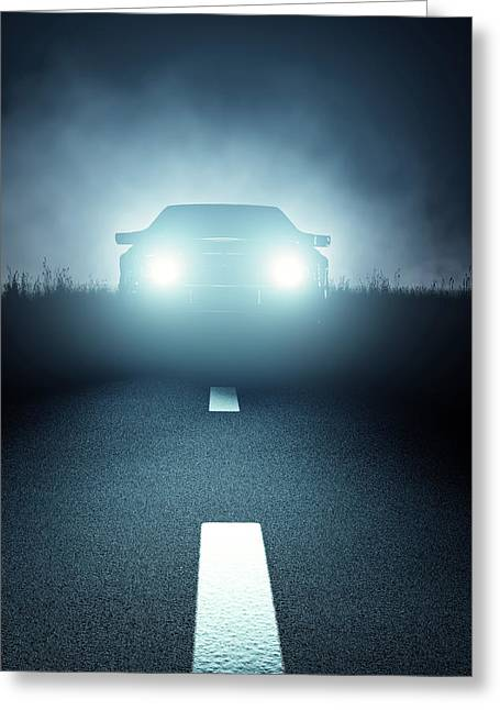 Front Car Lights At Night On Open Road Greeting Card